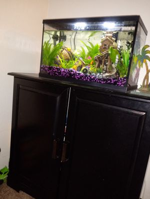 Fish tank, stand an all necessary accessories for Sale in Fort Worth, TX
