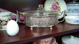 Early Vintage Pyrex Covered Clear Etched Glass Casserole in Silver Plated Cradle for Sale in Virginia Beach, VA
