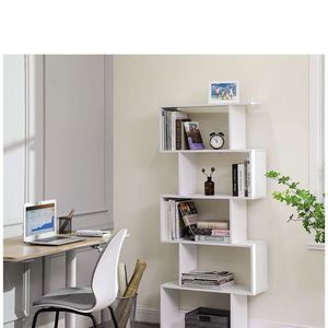 Wooden Bookcase, 5-Tier Display Shelf and Room Divider, Freestanding Decorative Storage Shelving Bookshelf, White for Sale in Eastvale, CA
