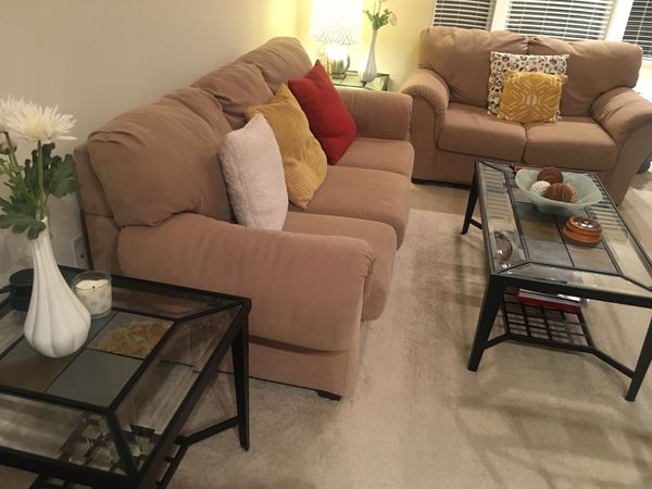 Tan couch and matching loveseat