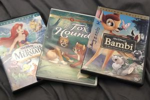 Disney DVD little Mermaid, Bambi, fox and the hound for Sale in Santa Ana, CA