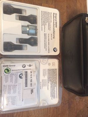 Brand New Original BMW wheel lock sets and first aid kit for Sale in Houston, TX