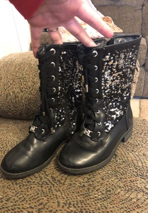 MK black girls sparkle boots size 1 for Sale in Franklinton, NC
