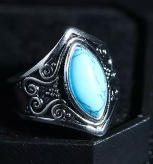 Charming Tibet Silver, Blue Chalcedony Turquoise Ring for Sale in Wichita, KS