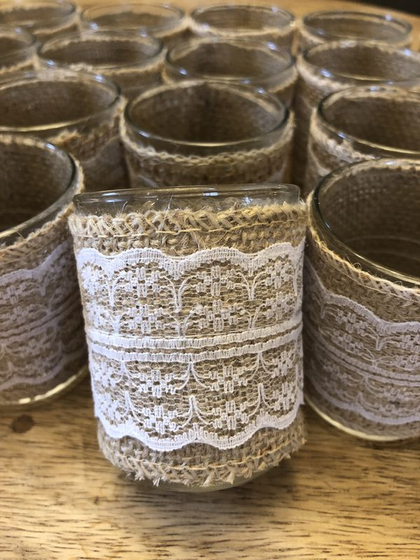 24 burlap and lace glass votive candle holders