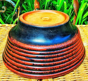 West german mid century modern black and red terracotta bowl planter for Sale in Saginaw, MI