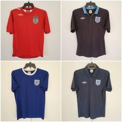 Mens 4 x England Soccer Jersey / Shirts - Medium / M for Sale in Las Vegas,  NV