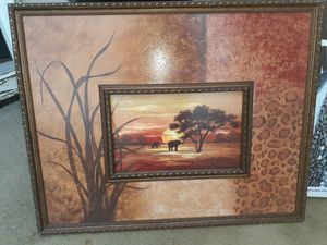 Textured safari frame painting for Sale in Knightdale, NC