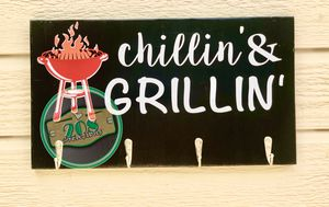 Chillin' & Grillin' BBQ Sign, Patio Decor for Sale in Meridian, ID