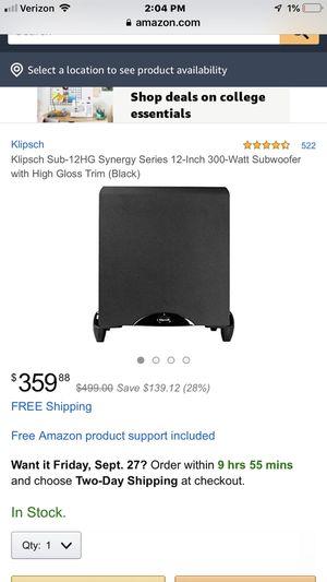 """Klipsch 12"""" 300w/650w surround sound subwoofer for Sale in Tempe, AZ"""