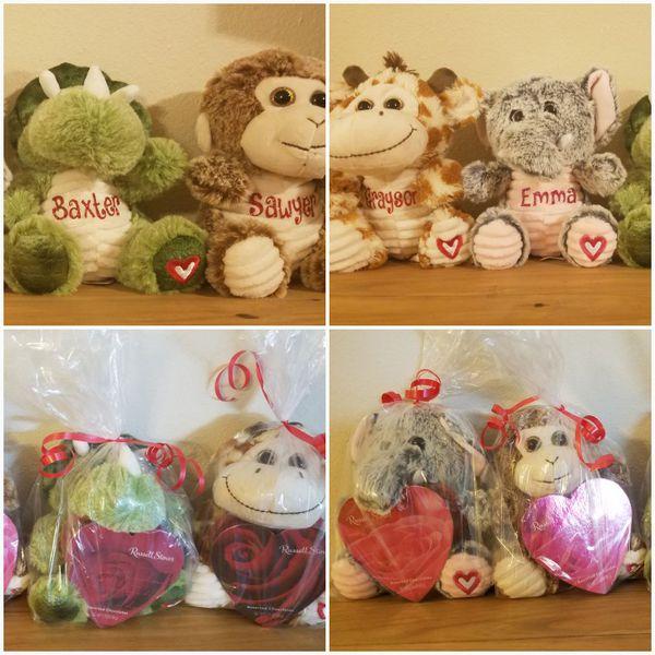 Personalized Valentine Stuffed Animal includes Box of Chocolates!