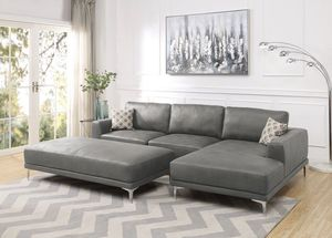 Brand New! Stone Gray Leather Luxury Sectional With Ottoman for Sale in Orlando, FL