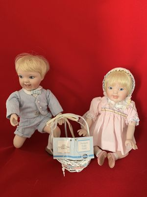 Dolls boy and girl with a basket for Sale in Dunedin, FL