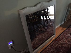 Mirror with light gray wood trim for Sale in Portland, OR