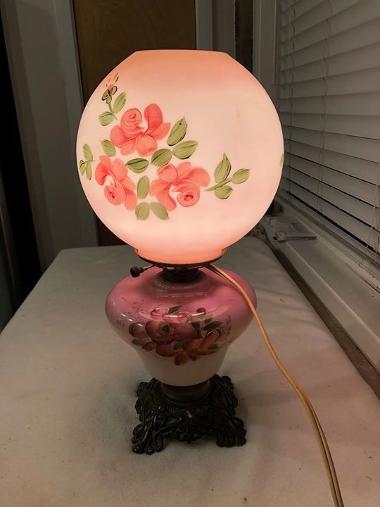 "Antique Victorian Hand Painted 19"" Gone With The Wind Converted Oil Table Lamp"