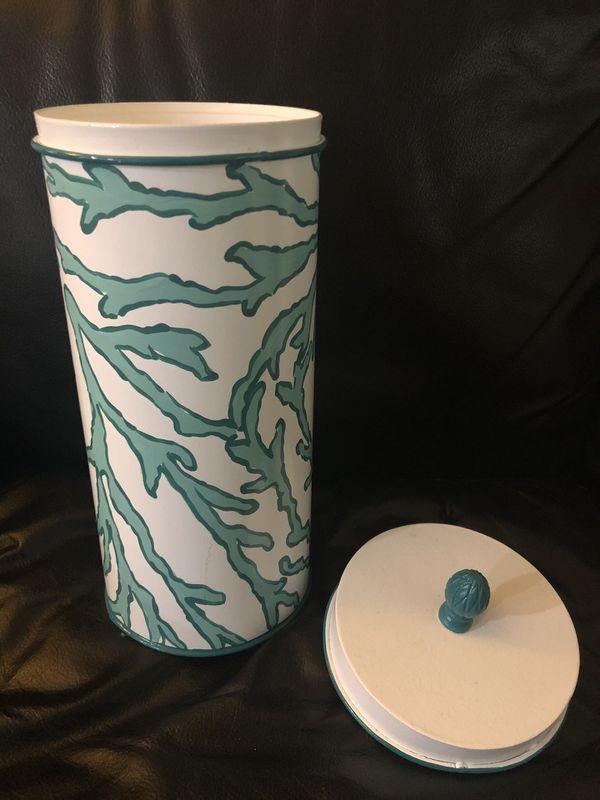Allen G. Designs beautiful tall round bathroom paper holder / metal gift tin / home decor