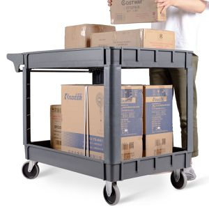 """TL33838 46"""" x 25"""" x 33"""" Plastic Utility 2 Shelves Rolling Service Cart for Sale in Santa Ana, CA"""