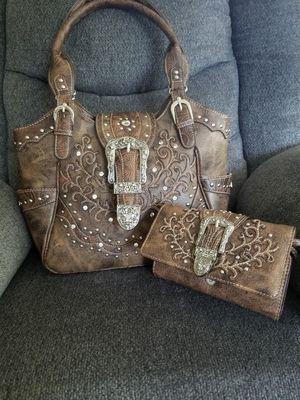 Brown buckle handbag with matching wallet for Sale in Menomonie, WI