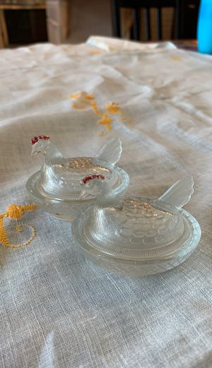 2 clear glass salt cellars for Sale in Evergreen, CO