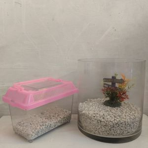 Cylindrical Glass Fish Bowl and Imagitarium Pet Keeper for Aquarium Fish for Sale in Baltimore, MD