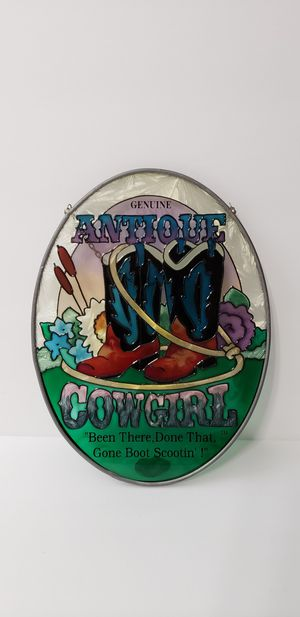 Antique Cowgirl stained glass sign for Sale in Tacoma, WA