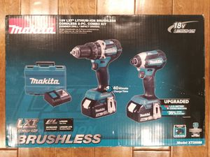 Makita 18-Volt LXT Lithium-Ion Brushless Cordless Hammer Drill and Impact Driver Combo Kit (2-Tool) w/ (2) 4Ah Batteries, Case for Sale in Montrose, CA