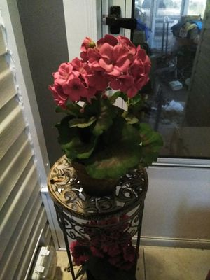 Stand with red artificial flowers in pots on top and bottom for Sale in Winter Haven, FL
