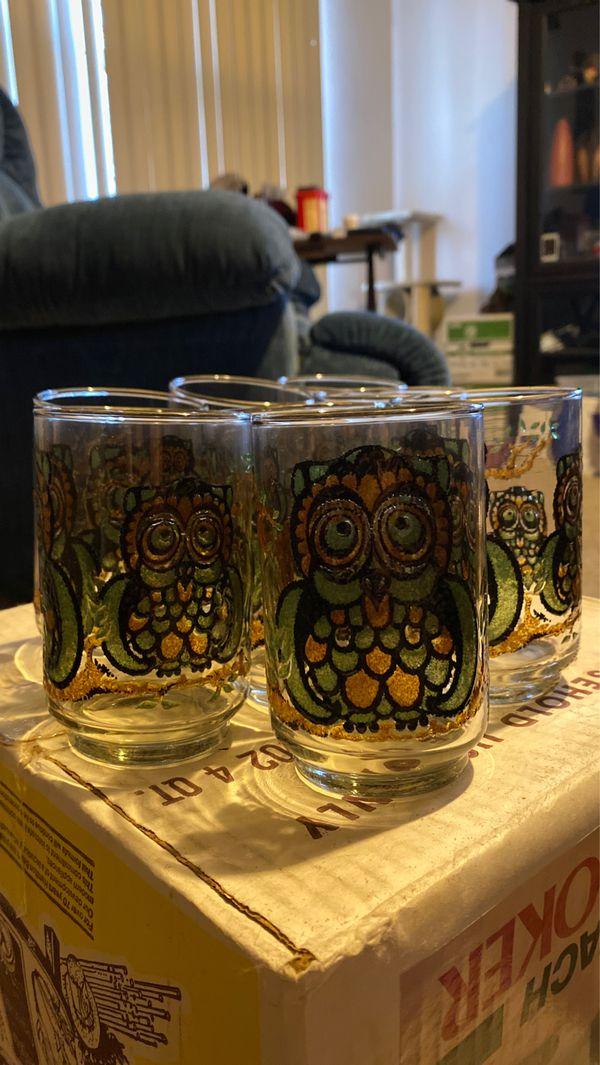 8 Owl glasses and 5 Highball glasses