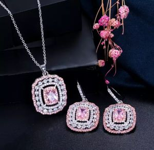 New beautiful pink faux-diamond cz Necklace and Earrings jewelry set for Sale in Troy, MI
