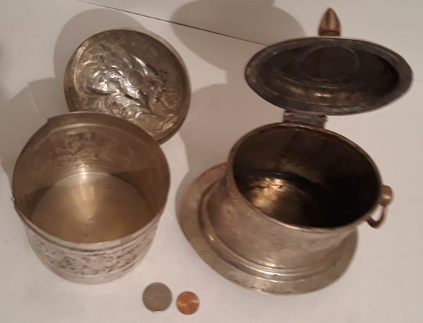 2 Vintage Silver Metal Containers, Storage Boxes, Stash Boxes, Each One of these Containers has a problem, One has a crack