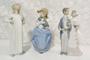 3 Lladro Porcelain Figurine 4872 1029 4808 Girl Dog Wedding Groom Bride DAMAGED for Sale in West Covina, CA