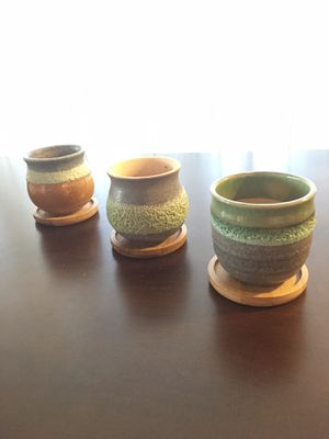 Succulent Pots!! - Adorable Ceramic Cactus Pots with Bamboo Coasters for Sale in Whittier, CA