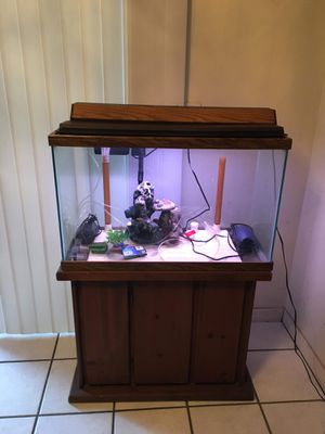 30 gallon fish tank with pump light some decorations for Sale in Orlando, FL