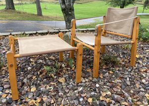 Vintage Gold Metal Inc Canvas Safari Lounge Chair + Ottoman; Mid Century Modern for Sale in Eau Claire, WI