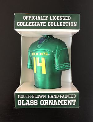 Oregon Ducks NCAA College Football Jersey #14 Glass Ornament Hand Painted Collegiate Collection - BRAND NEW!! for Sale in Fair Oaks, CA