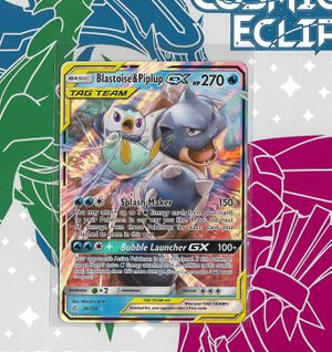 Pokemon: Blastoise & Piplup GX Tag Team #38 (Cosmic Eclipse) + Build-Your-Own Booster for Sale in Chesilhurst, NJ