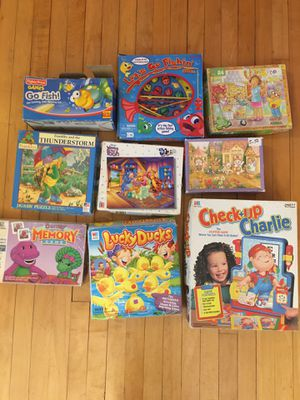 Kids toddlers 3-7 Board games puzzles Memory games old school and newer for Sale in Chicago, IL