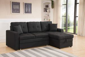 BLACK Linen Fabric Sectional Sofa with Reversible Chaise Storage and Pull Out Bed / SILLON SECCIONAL CAMA for Sale in Temecula, CA