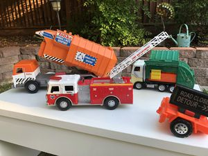 Tonka Trucks fire truck garbage and recycling truck construction for Sale in Tracy, CA