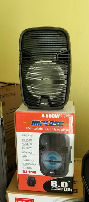 """1000 watts. 8"""" woofer speaker. Rechargeable battery. Bluetooth. FM radio. USB and SD connection. Microphone imput. Brand new. for Sale in Miami Springs, FL"""