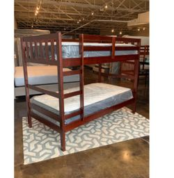 Twin Over Twin Cappuccino Bunk Bed Set With Plush Mattress Included for Sale in Austin,  TX