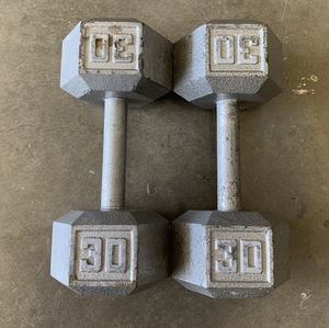Workout Hex Dumbbells 2x30lbs (60lbs Total) Weight Set for Sale in Happy Valley, OR