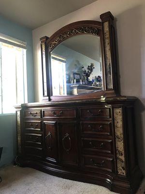 Bedroom set mocha with granite for Sale in Fresno, CA