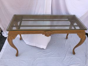 Glass topped wooden antique table for Sale in Tampa, FL