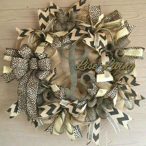 Tan Gold Black Monogram Cheetah Chevron Wreath for Sale in Montgomery, AL