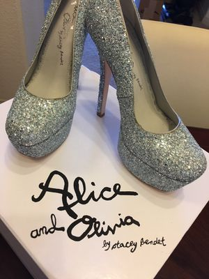 Brand New Alice & Olivia Shoes 100% Authentic Diamond glitter silver & blue Size 37.5 EU / 7 US Women High heel Brand New with a dust bag for Sale in Los Angeles, CA
