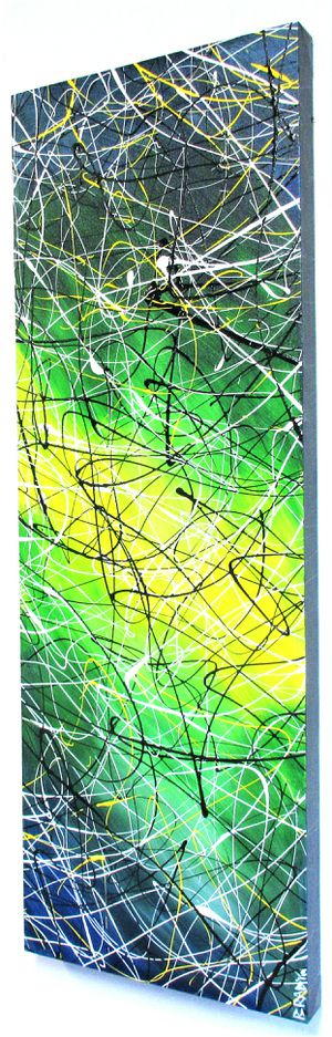 37x13 ORIGINAL SIGNED DRIP PAINTING. STRETCHED CANVAS AND READY TO HANG! BRACKETS APPLIED ALLOWING PAINTING TO HANG EITHER WAY! SHIPPING IS AVAILABLE for Sale in Cincinnati, OH