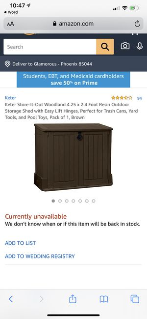 WOODLAND RESIN OUTDOOR STORAGE SHED WITH EASY LIFT HINGES YARD TOOLS TOYS BROWN for Sale in Phoenix, AZ
