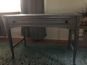 """Very old desk, currently a smoky gray color. One long drawer. I've owned for 42 years and it was used when I got it when """"Thrifting""""! for Sale in Lake Worth, FL"""