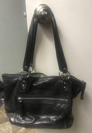 Black leather coach handbag for Sale in Moreno Valley, CA